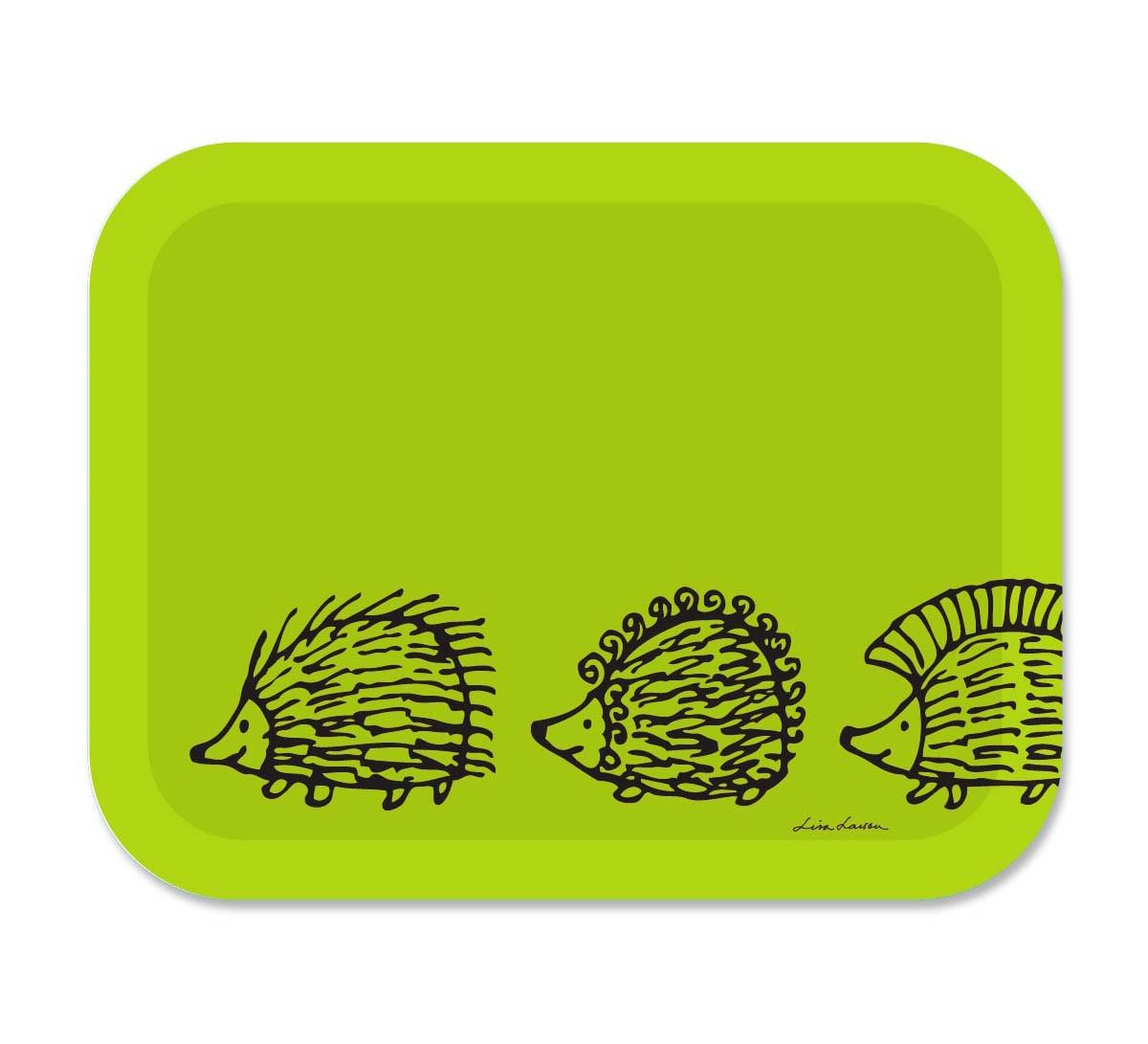 Lisa Larson 刺蝟三兄弟白樺木托盤 (大) (綠)