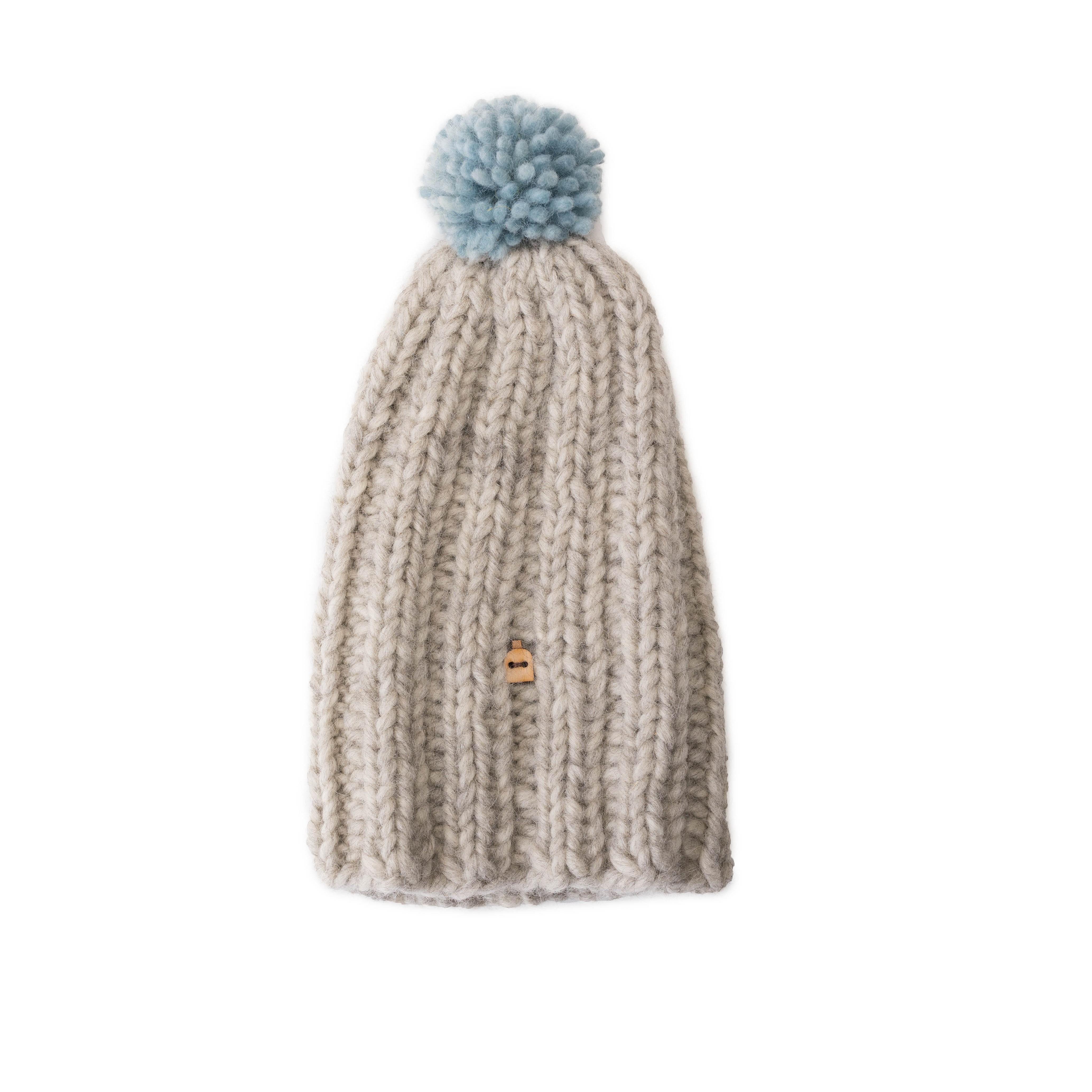 芬蘭 MYSSYFARMI Kaamos 成人手工羊毛帽 (淺灰藍球球)