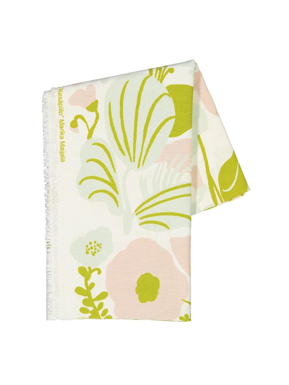 芬蘭Kauniste棉麻布料 / 夏日的秘密基地粉綠 (1單位:50cm)