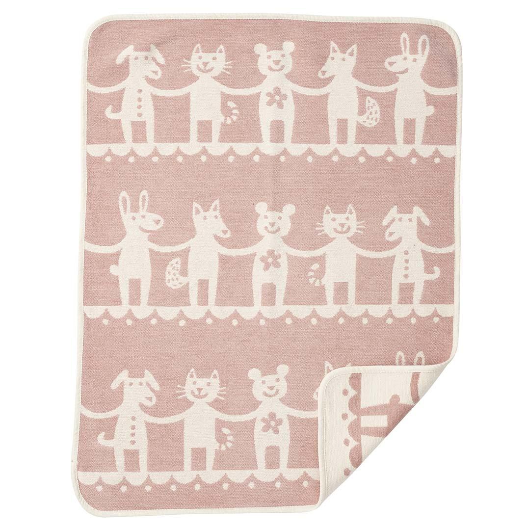 小型有機綿絨蓋毯 (一起來跳舞 粉色)