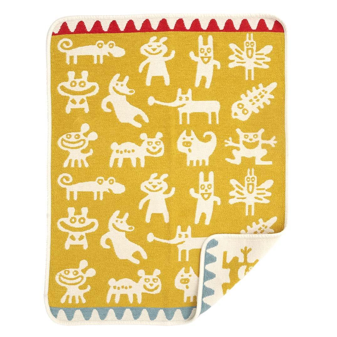 小型有機綿絨蓋毯 (小怪獸 黃色)