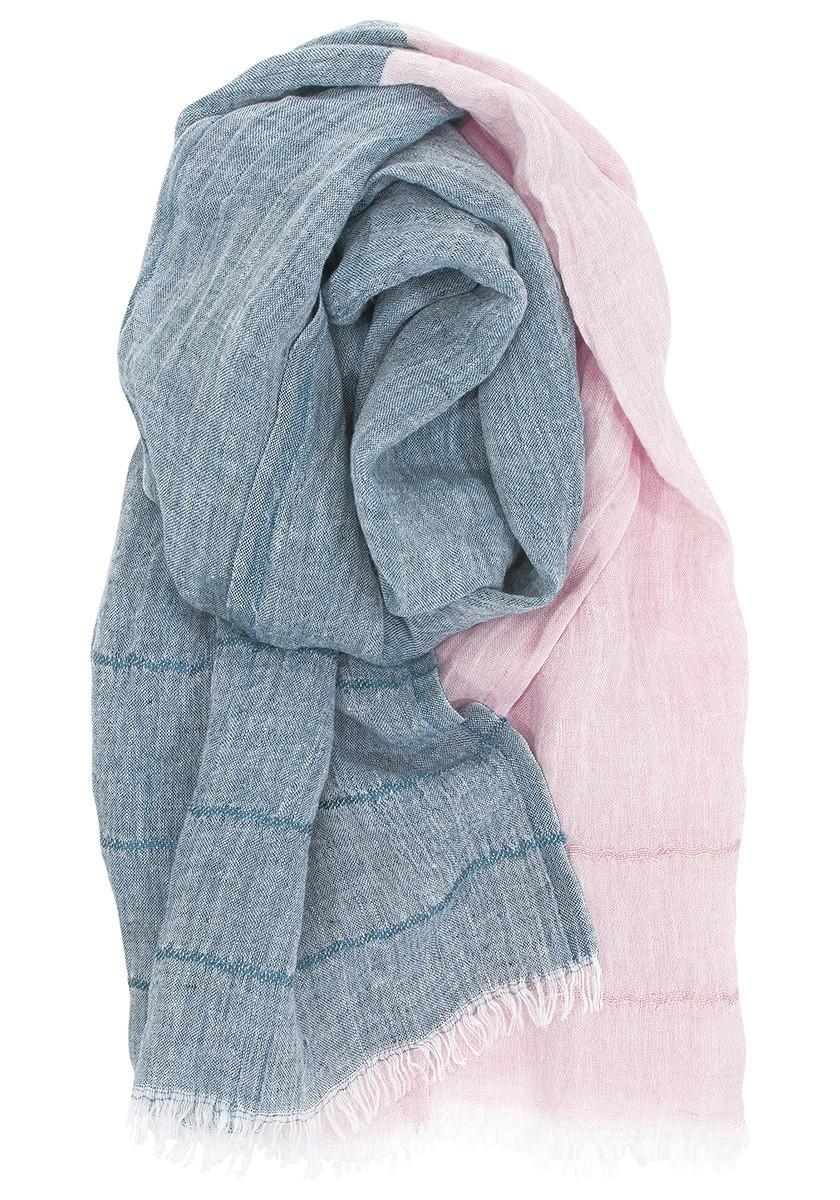 芬蘭Lapuan Kankurit TSAVO亞麻薄圍巾 (玫瑰&墨綠)