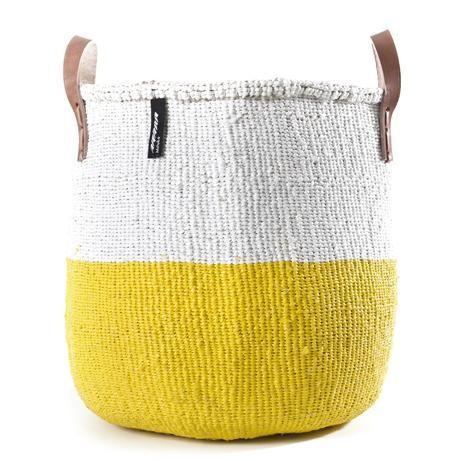 芬蘭mifuko短把兩用編織籃 (50/50奶油黃)