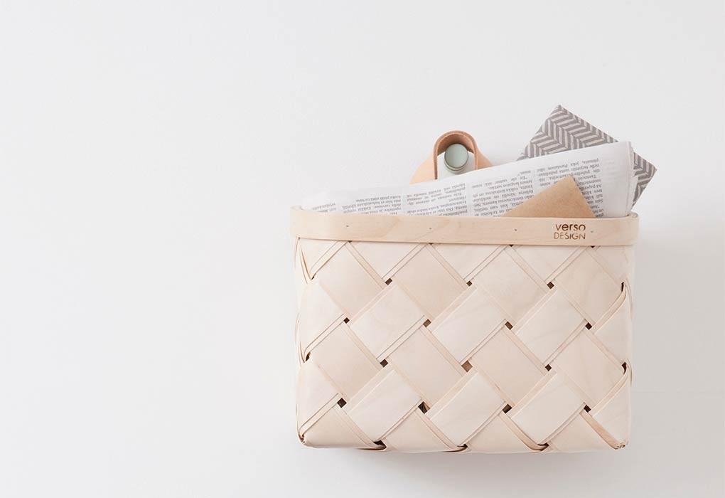 芬蘭Verso Design白樺木編織掛籃 (皮把)