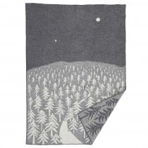 Klippan Yllefabrik x Minä perhonen 聯名羊毛毯 (深夜前往森林小屋的那條路灰色)