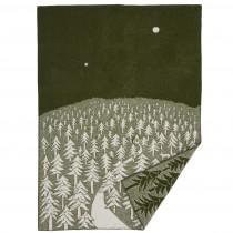 Klippan Yllefabrik x Minä perhonen 聯名羊毛毯 (深夜前往森林小屋的那條路綠色)