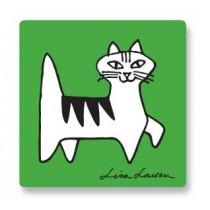 Lisa Larson Felix貓白樺木杯墊 (綠)