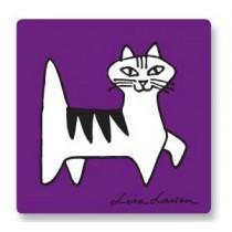 Lisa Larson Felix貓白樺木杯墊 (紫)