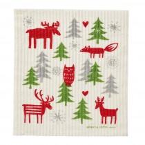 森林聖誕海綿擦布