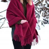 芬蘭Lapuan Kankurit UNI 單色羊毛口袋披肩 (酒紅)