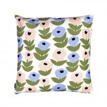 芬蘭Kauniste棉麻抱枕套 (花意粉藍)