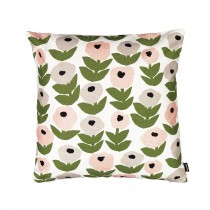 芬蘭Kauniste棉麻抱枕套 (花意粉灰)