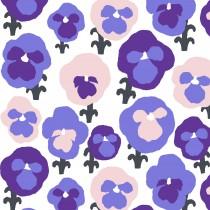 芬蘭Kauniste純棉布料 / 紫色三色堇 (1單位:50cm)