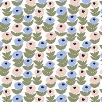 芬蘭Kauniste棉麻布料 / 花意粉藍 (1單位:50cm)