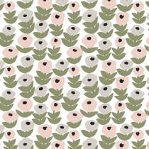 芬蘭Kauniste棉麻布料 / 花意粉灰 (1單位:50cm)