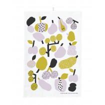 芬蘭Kauniste棉麻萬用巾 (橄欖綠果香樂園)