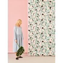 芬蘭Kauniste棉麻布料 / 薄荷綠果香樂園 (1單位:50cm)