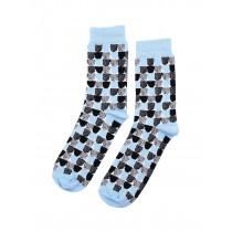 芬蘭Kauniste印花棉襪 (藍色砂糖)
