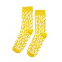 芬蘭Kauniste印花棉襪 (黃色群鳥)
