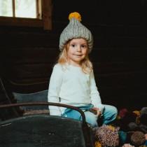 芬蘭 MYSSYFARMI KULTTI 孩童手工羊毛帽 (灰色黃色球球)