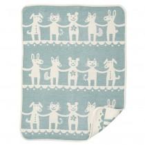 小型有機綿絨蓋毯 (一起來跳舞 綠色)