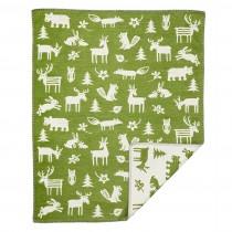 小型有機綿蓋毯 (森林 綠色)