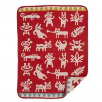 小型有機綿絨蓋毯 (小怪獸 紅色)