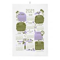 芬蘭Kauniste棉麻萬用巾 (2021年曆 紫)