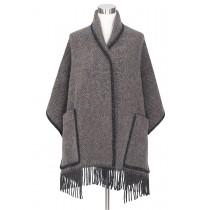 芬蘭Lapuan Kankurit MARIA 羊毛口袋披肩 (咖啡黑條紋)