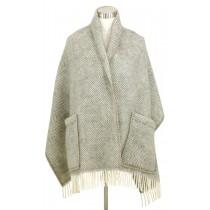 芬蘭Lapuan Kankurit MARIA 羊毛口袋披肩 (淺灰條紋)