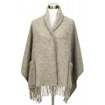 芬蘭Lapuan Kankurit UNI 單色羊毛口袋披肩 (灰棕色)