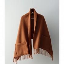 芬蘭Lapuan Kankurit UNI 單色羊毛口袋披肩 (肉桂橘)