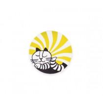 Lisa Larson 愛睡貓白樺木杯墊 (黃)