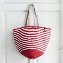 芬蘭mifuko長把編織包 (紅白細條紋)