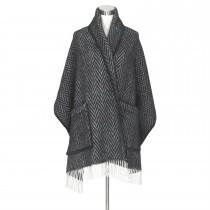 芬蘭Lapuan Kankurit IIDA 羊毛口袋披肩 (深黑條紋)