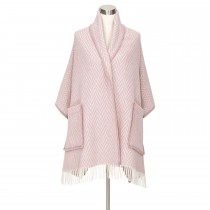 芬蘭Lapuan Kankurit IIDA 羊毛口袋披肩 (玫瑰條紋)