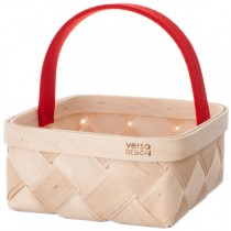 芬蘭Verso Design白樺木編織麵包籃 (紅色把手)